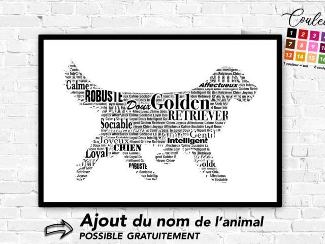Image Golden Retriever typographique